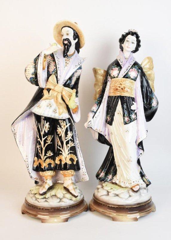 Pair Ceramic D. Poloviato Oriental Statues - 2
