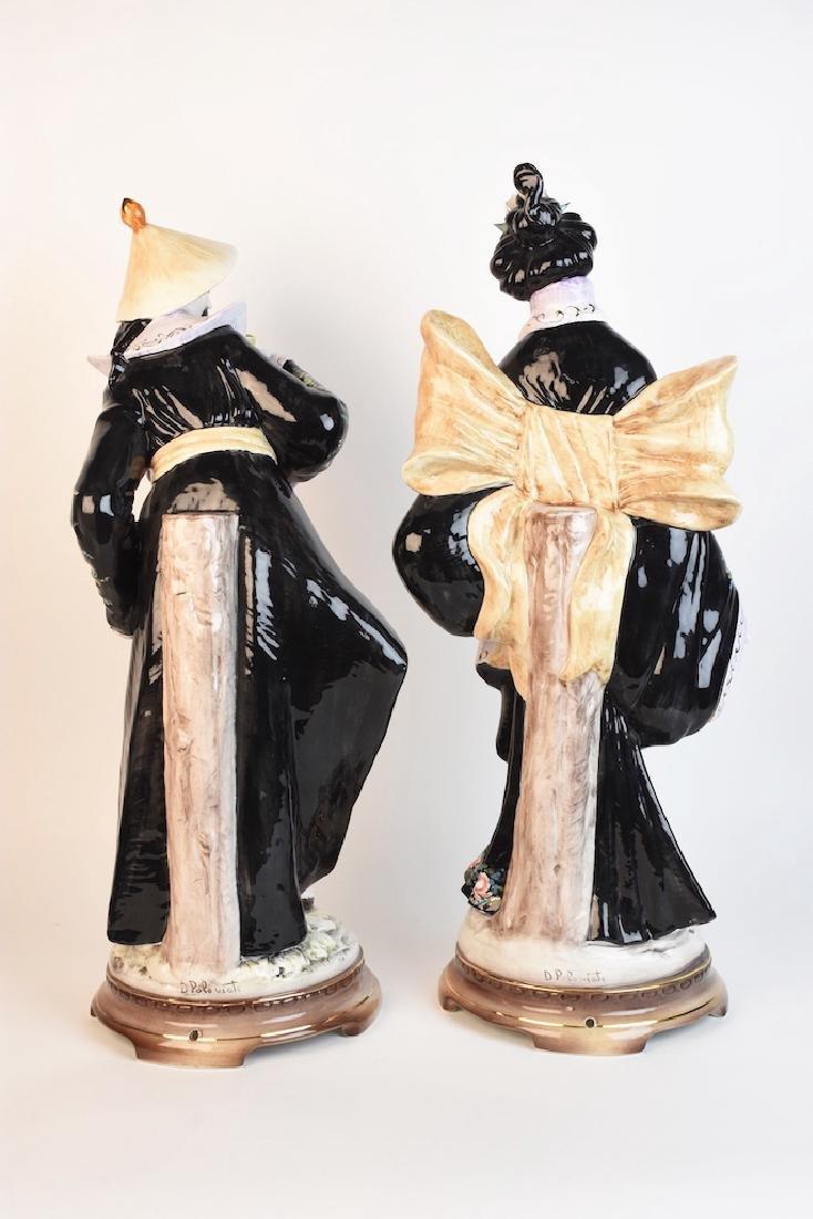 Pair Ceramic D. Poloviato Oriental Statues - 4