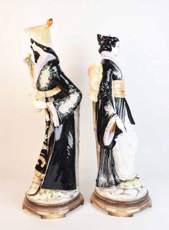 Pair Ceramic D. Poloviato Oriental Statues - 7