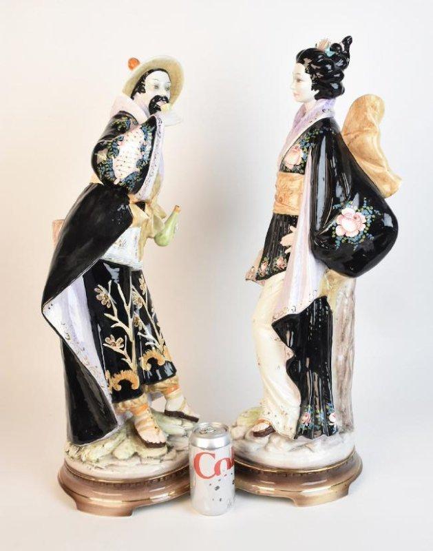 Pair Ceramic D. Poloviato Oriental Statues - 8