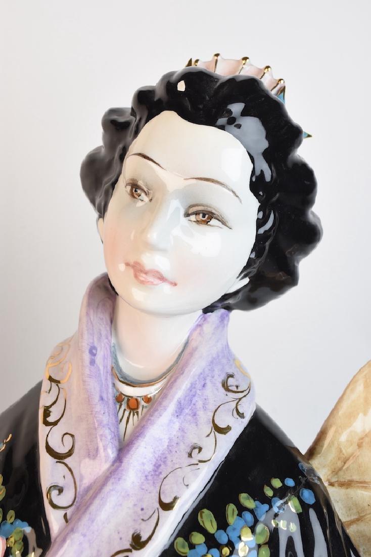Pair Ceramic D. Poloviato Oriental Statues - 9