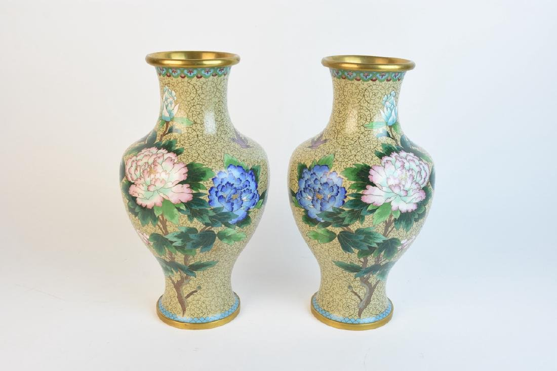 "Pair of 15"" Mirrored Cloisonne Vases"