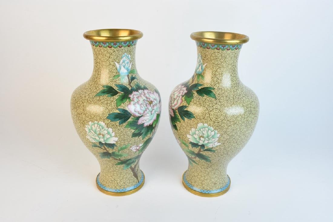 "Pair of 15"" Mirrored Cloisonne Vases - 2"