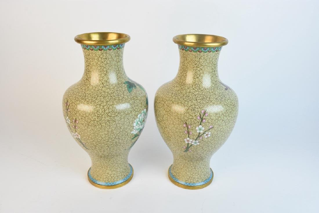 "Pair of 15"" Mirrored Cloisonne Vases - 3"