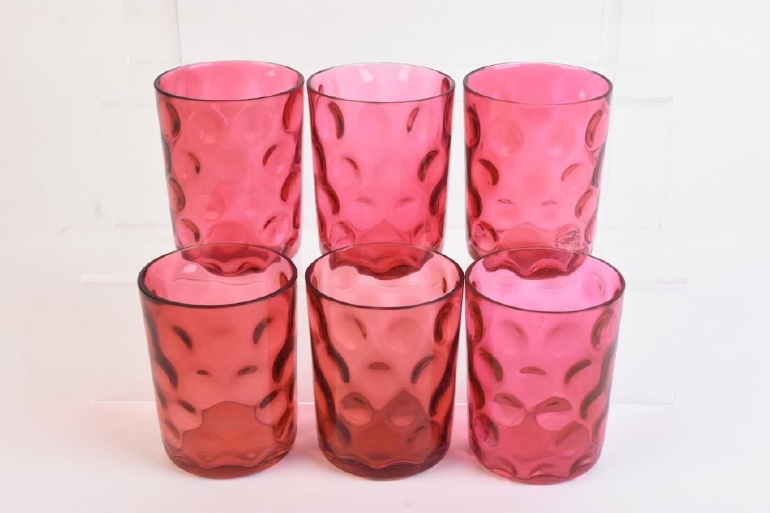 (6) Cranberry Coin Spot Tumblers