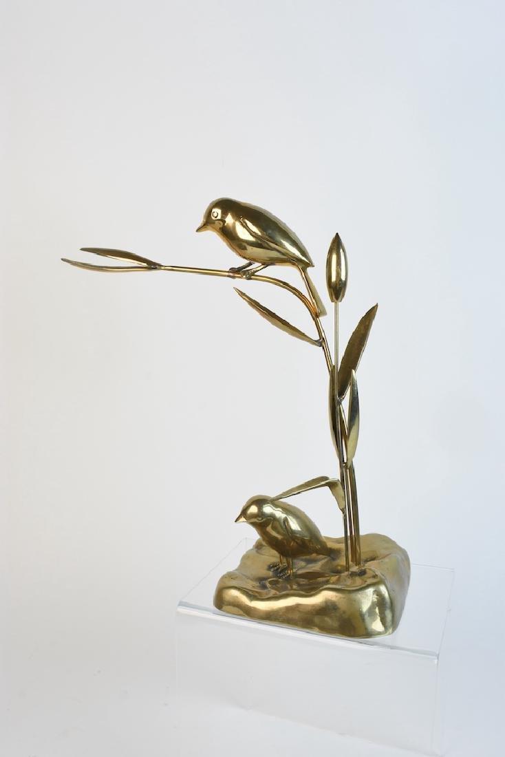 Vintage Dolbi Cashier Brass Bird & Grass Statue - 2