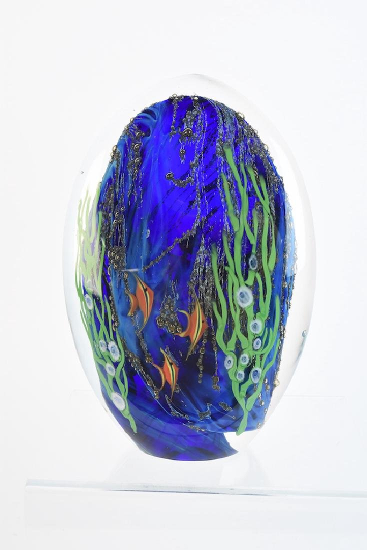 Zellique Fish Wave Sculpture; Signed