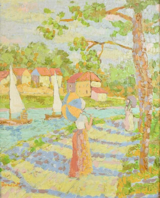 "Original Bernadette Oil Painting ""Picnic"" SLL - 2"