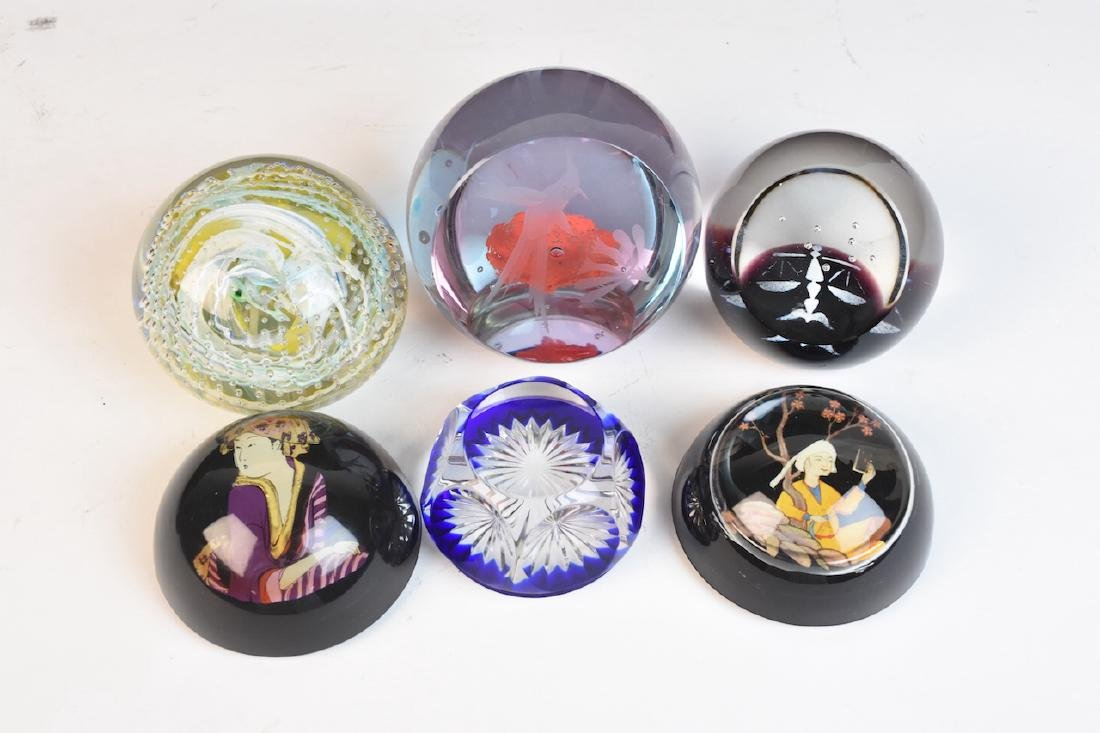 Assorted Paperweights; Baccarat, Caithness