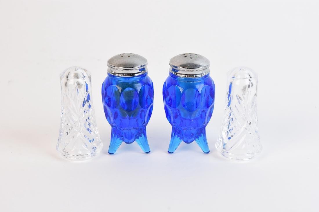 Vintage Blue Glass & Crystal Salt/Pepper Shakers