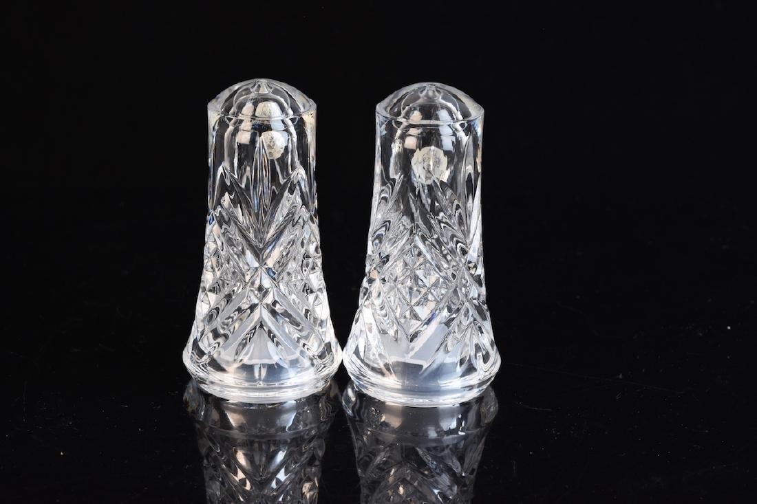 Vintage Blue Glass & Crystal Salt/Pepper Shakers - 3