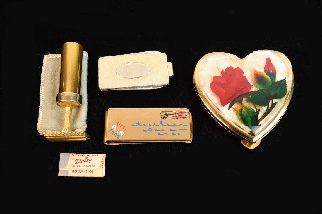 Vintage Accessories; razor, compact, money clip