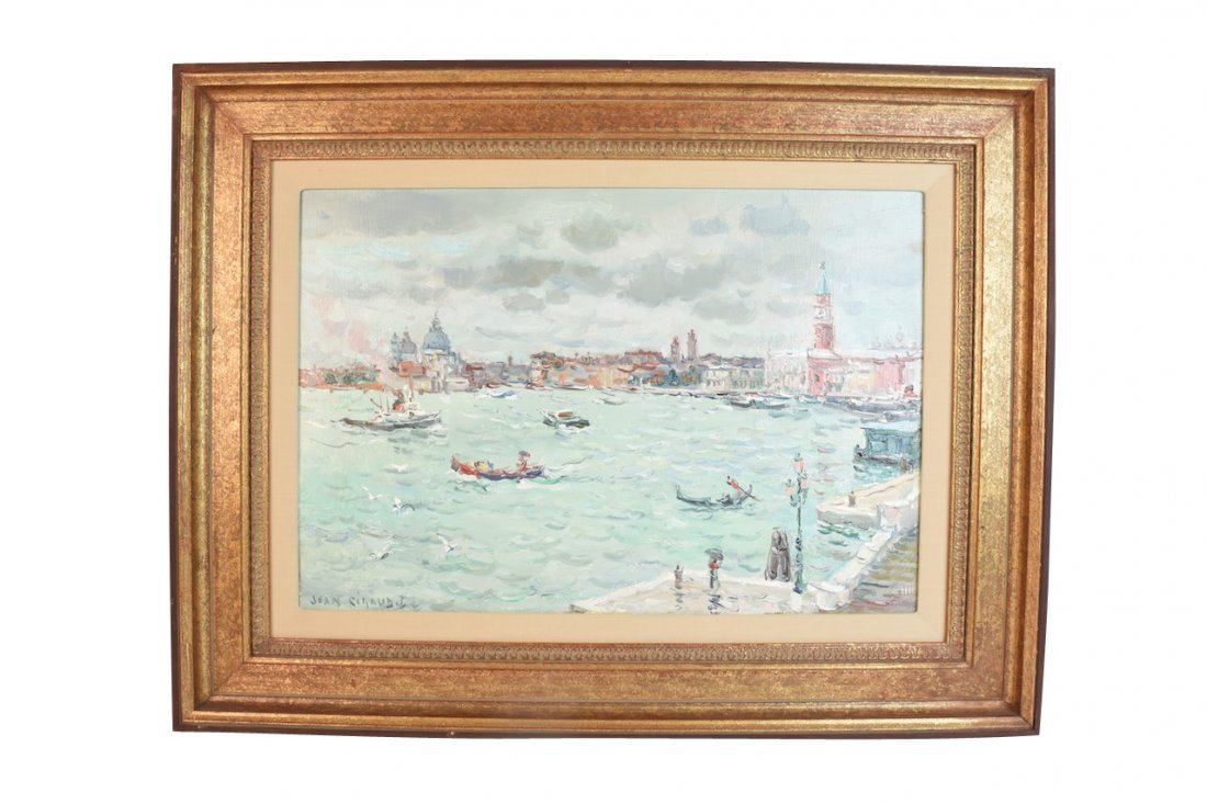 """Original Jean Rigaud's 1982 O/C Venice """"Pluie"""""""