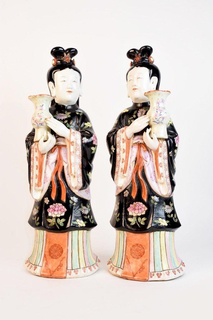 Chinese Geisha Women Porcelain Statues