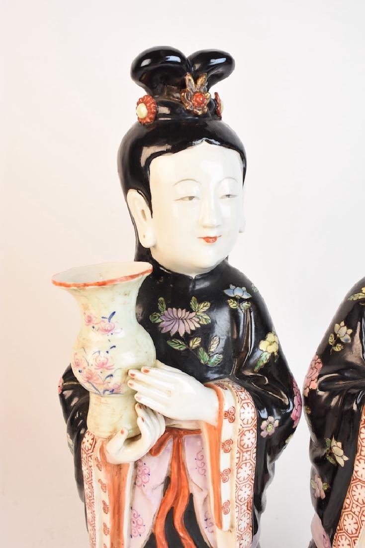 Chinese Geisha Women Porcelain Statues - 2