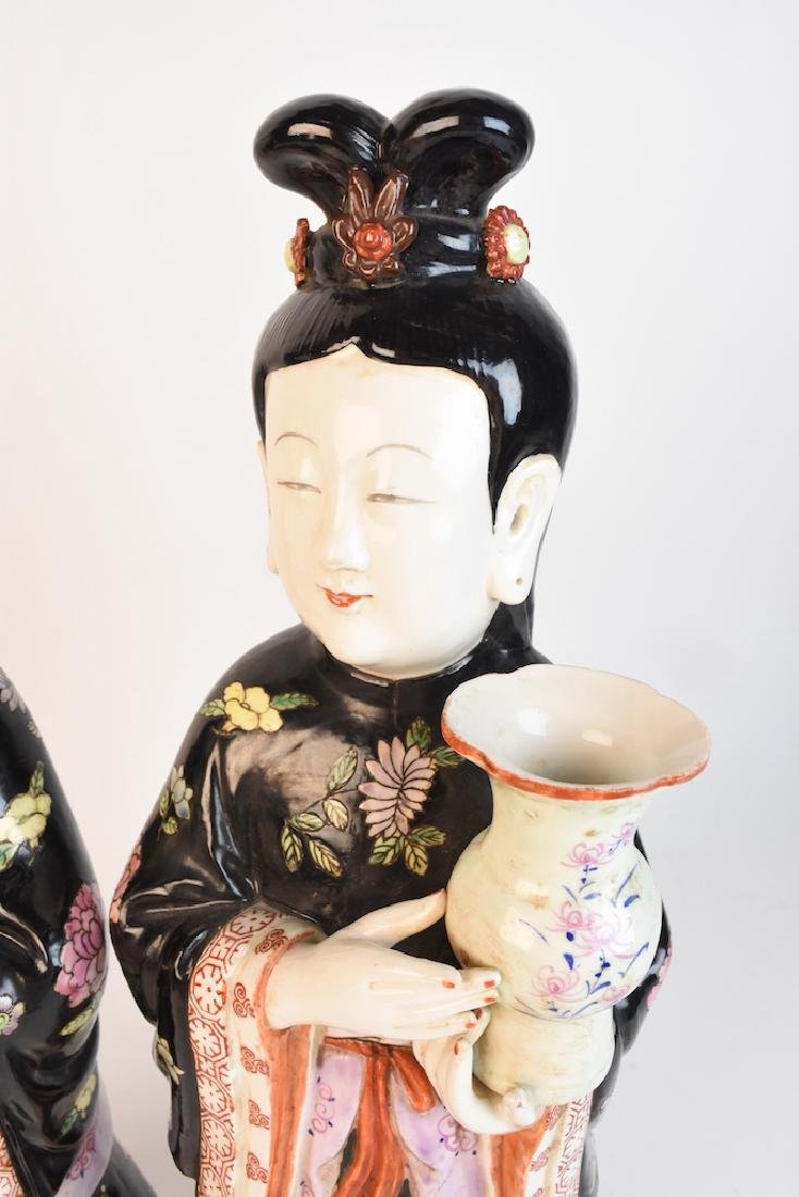Chinese Geisha Women Porcelain Statues - 3