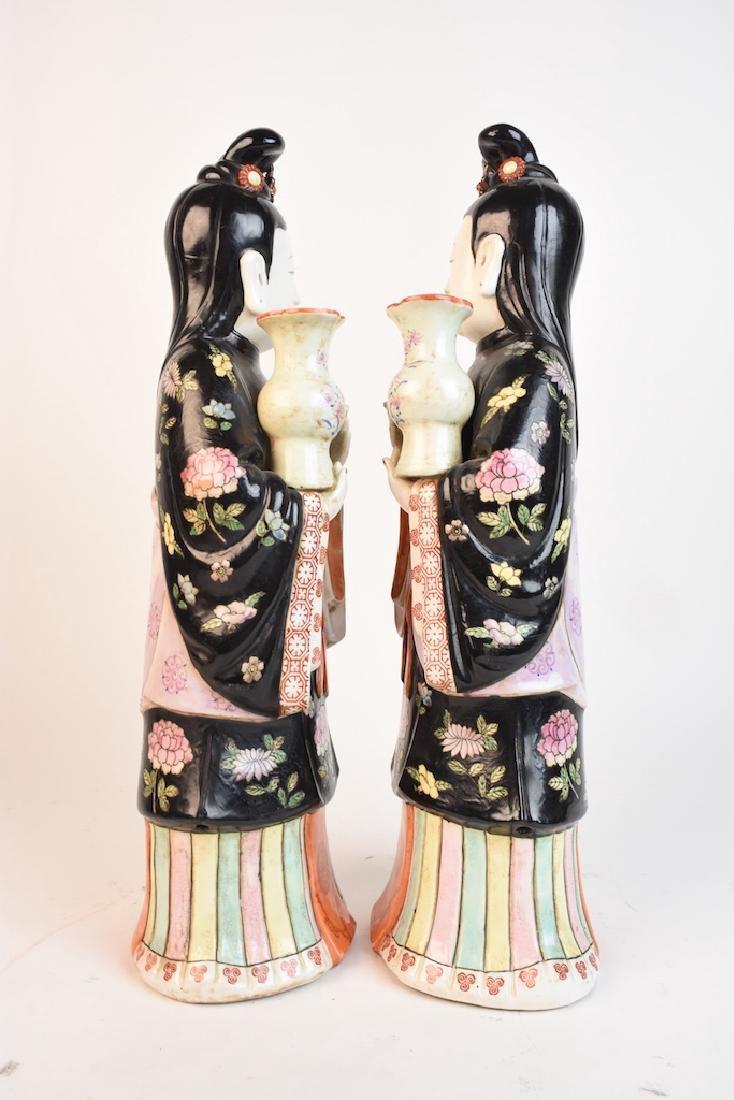 Chinese Geisha Women Porcelain Statues - 5