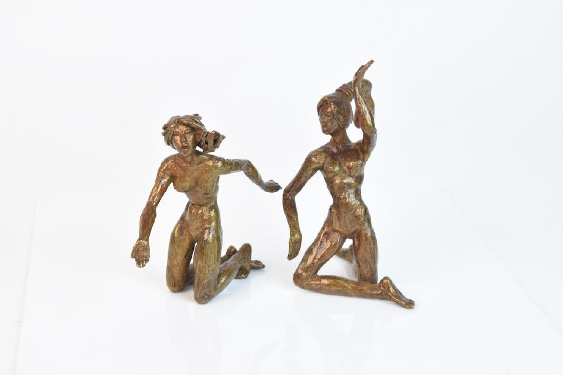 (2) Brass Female Statuettes Signed Jolly