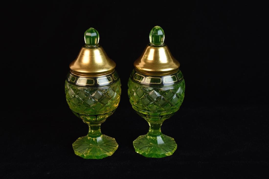 Pair of Vintage Vaseline Glass Jars