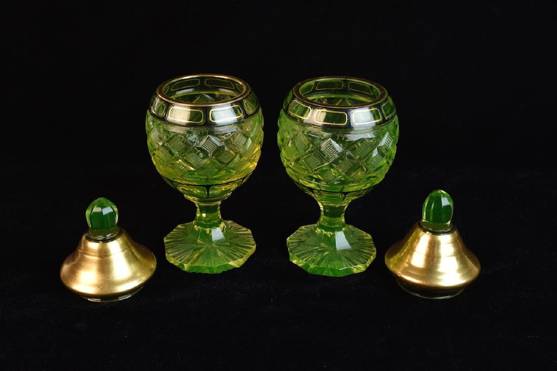 Pair of Vintage Vaseline Glass Jars - 2