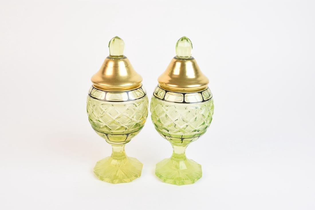 Pair of Vintage Vaseline Glass Jars - 4