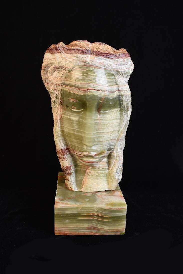 Bernard Simon Signed Onyx Statue; Female Face
