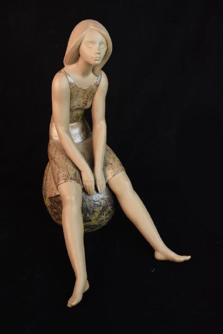 Lladro Porcelain Daisa Girl on Ball, Signed J. Hue