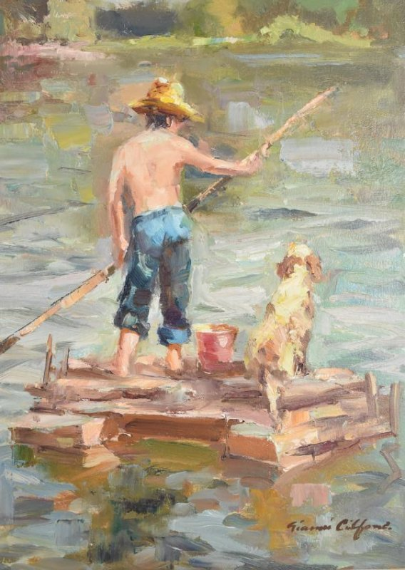 Gianni Cilfone Oil On Board; A Boy and His Dog - 2