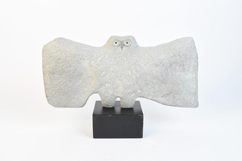 Signed Roger Cavalli Granite Owl Sculpture