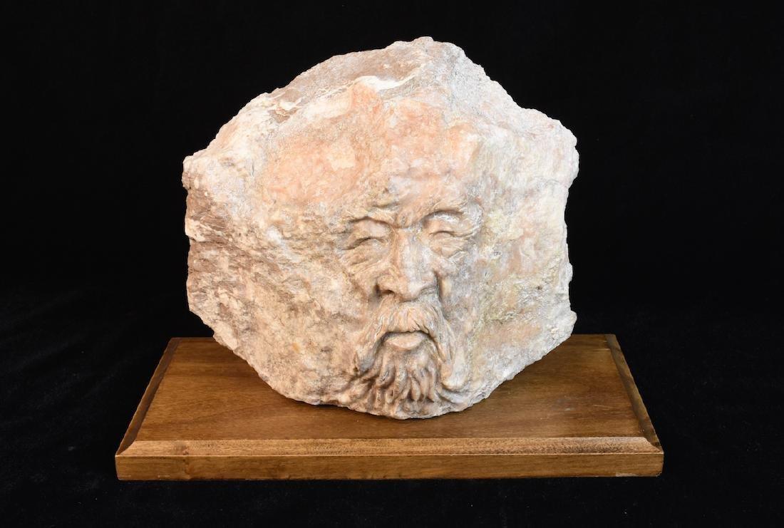 Unique Quartz Rock Face Carving; Longo