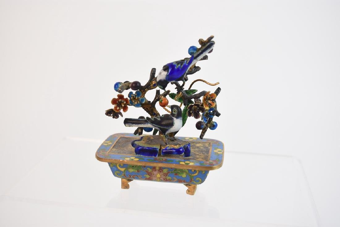 Miniature Enamel Cloisonne Bird Sculpture