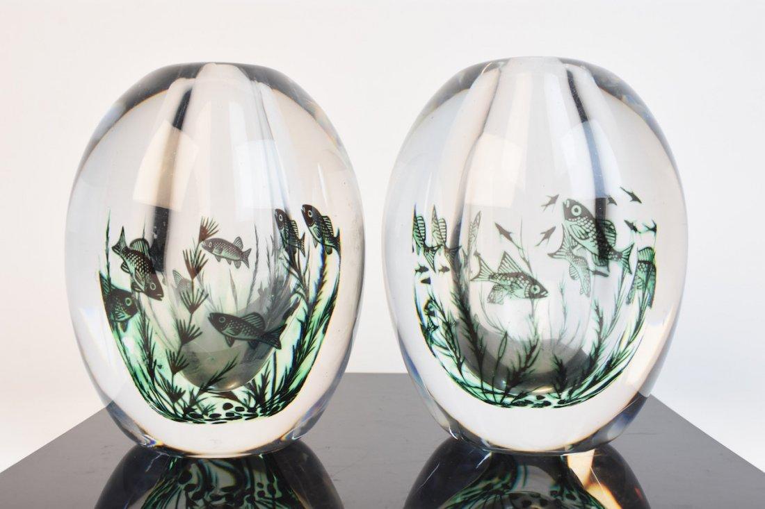 (2) Orrefors Edward Hald Fish Vases - Graal Technique