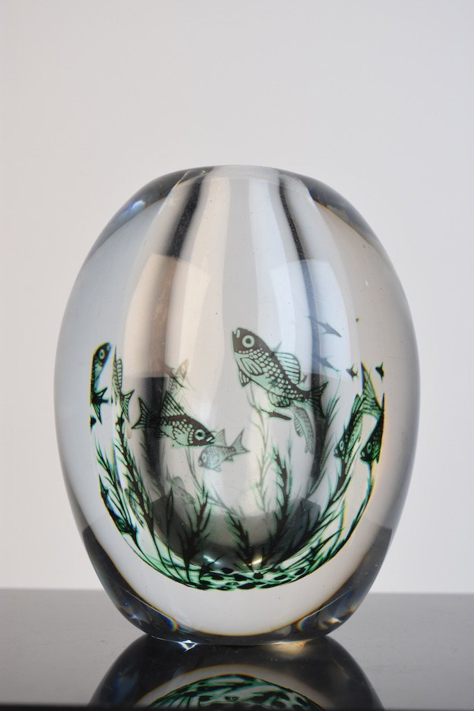 (2) Orrefors Edward Hald Fish Vases - Graal Technique - 2