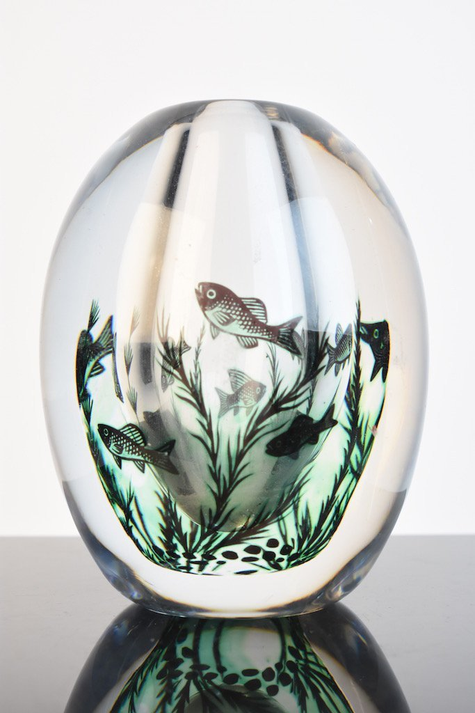 (2) Orrefors Edward Hald Fish Vases - Graal Technique - 7