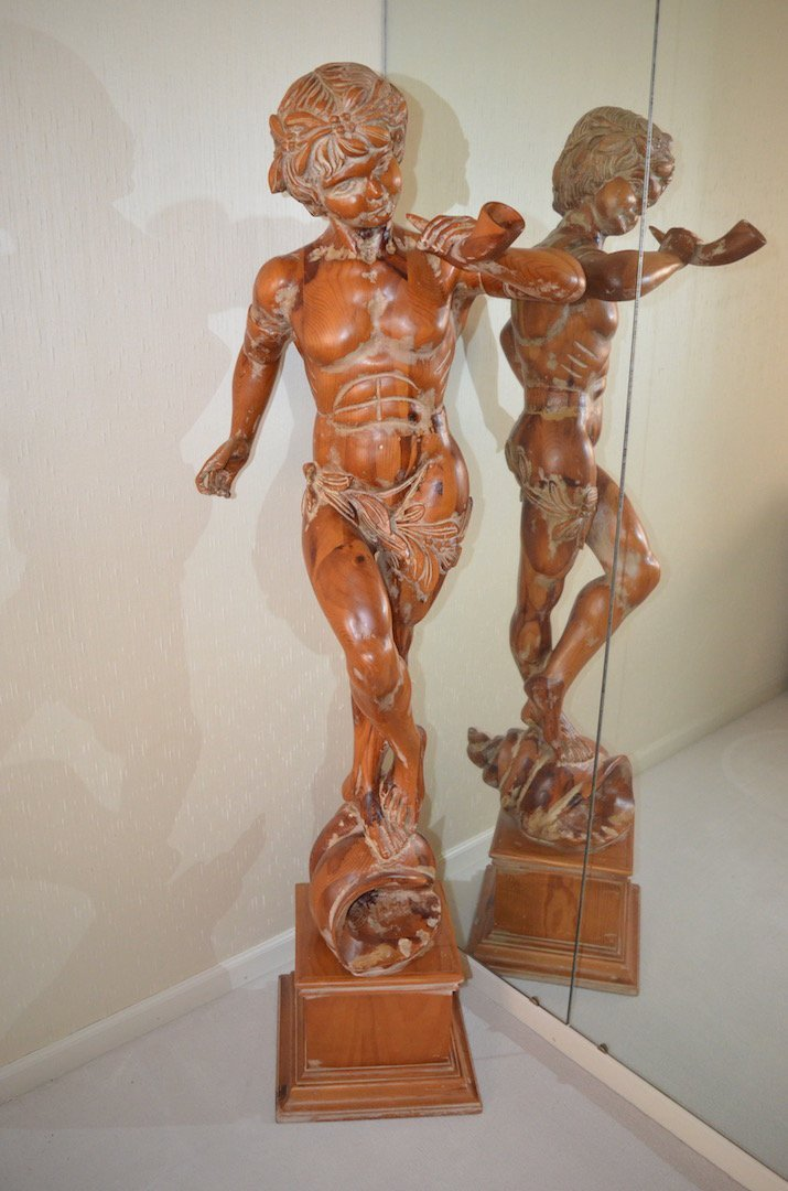5' Italian Carved Wood Statue; Artist Unknown
