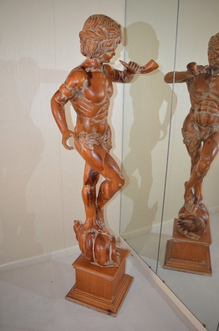 5' Italian Carved Wood Statue; Artist Unknown - 2