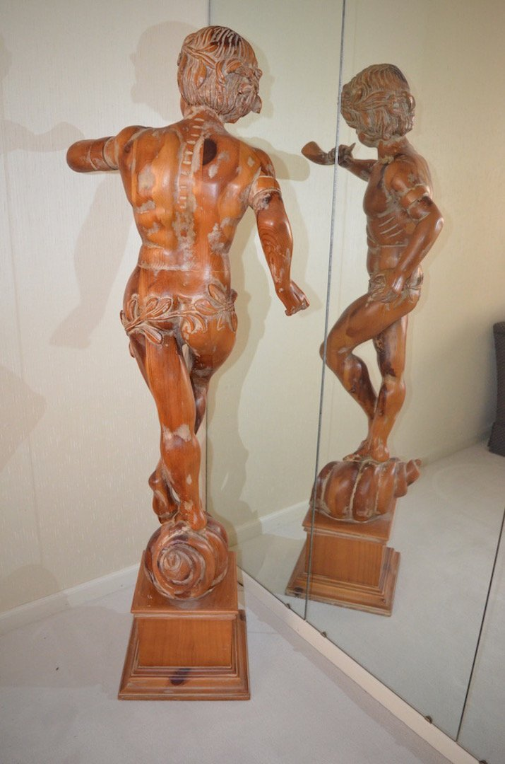 5' Italian Carved Wood Statue; Artist Unknown - 7