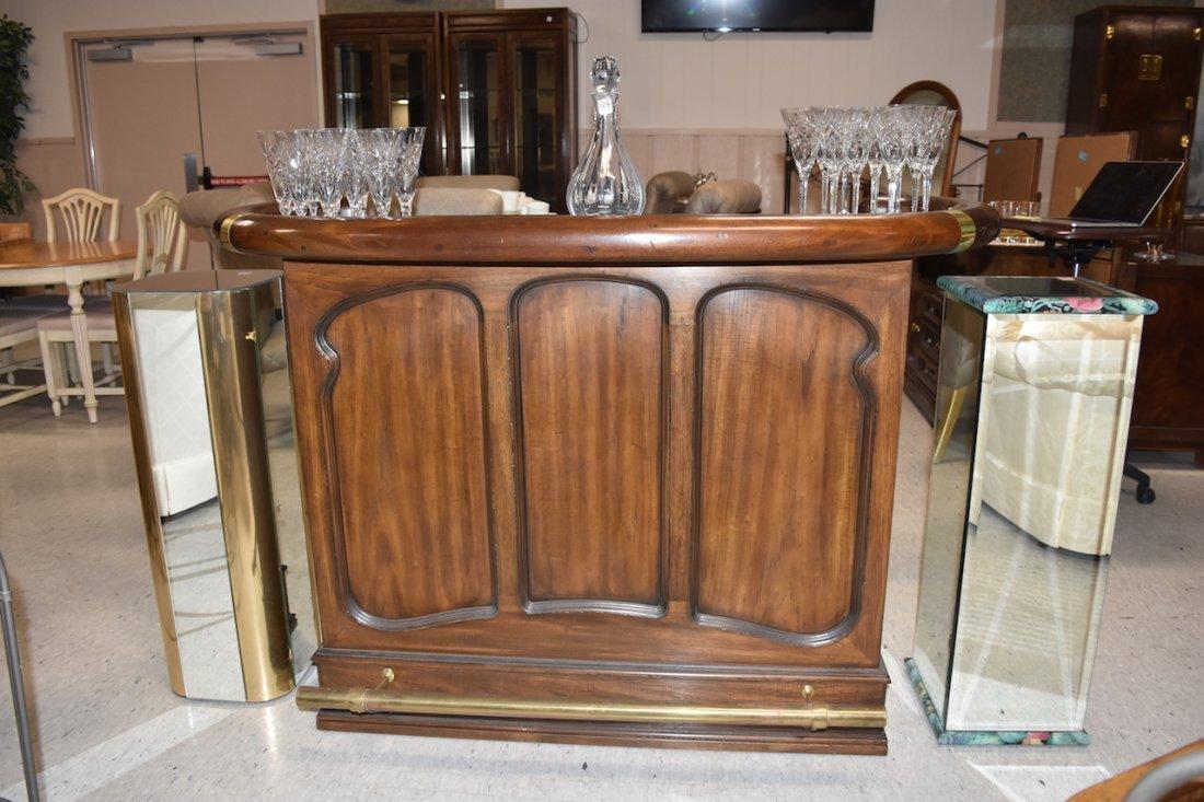 Drexel Bar W/ 2 Cane Bar Stools - 2