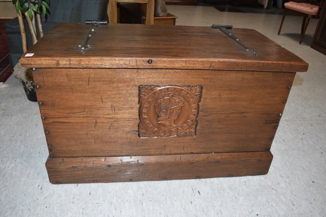 Distressed Wood Trunk W/ Carved Knight