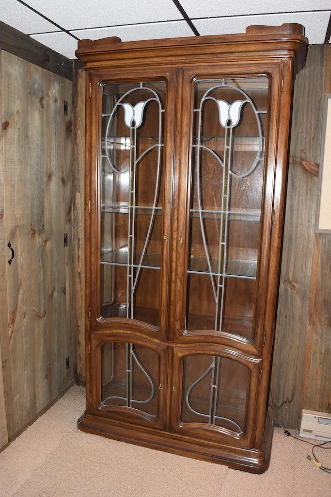 Stained Lead Glass Lighted China Cabinet