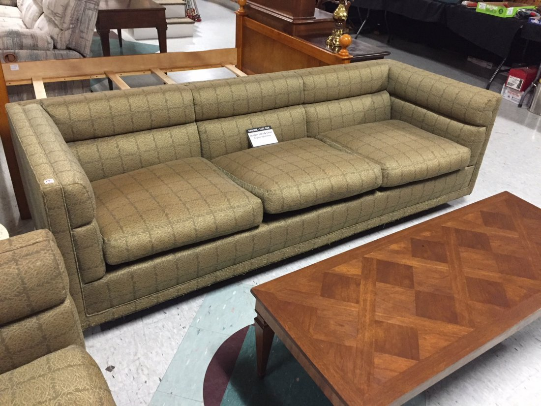 Mid-Century Dunbar Sofa & Arm Chair; Original Covering