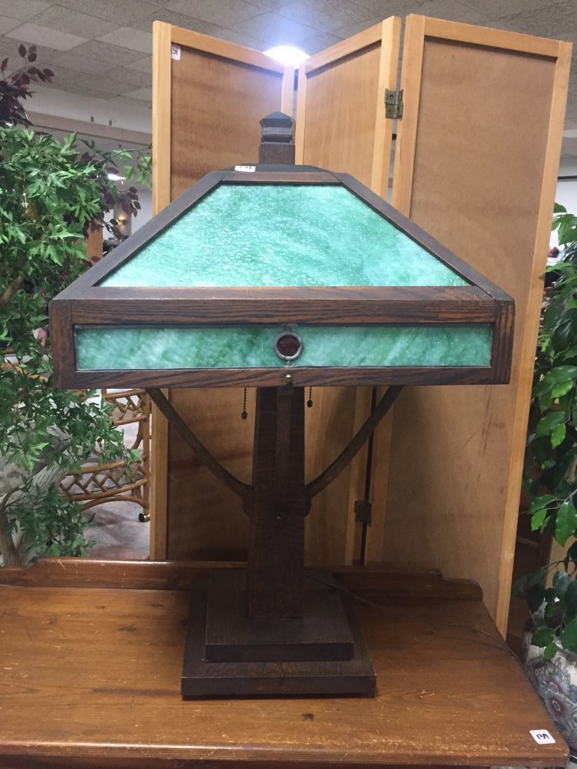 GORGEOUS Faux Slag Green Shade Table Lamp -WORKS!