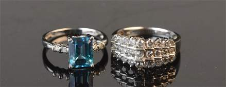 (2) 10K White Gold Rings With Diamonds
