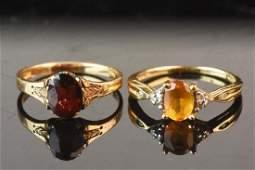 10K Gold Garnet Ring & Orange Citrine Ring