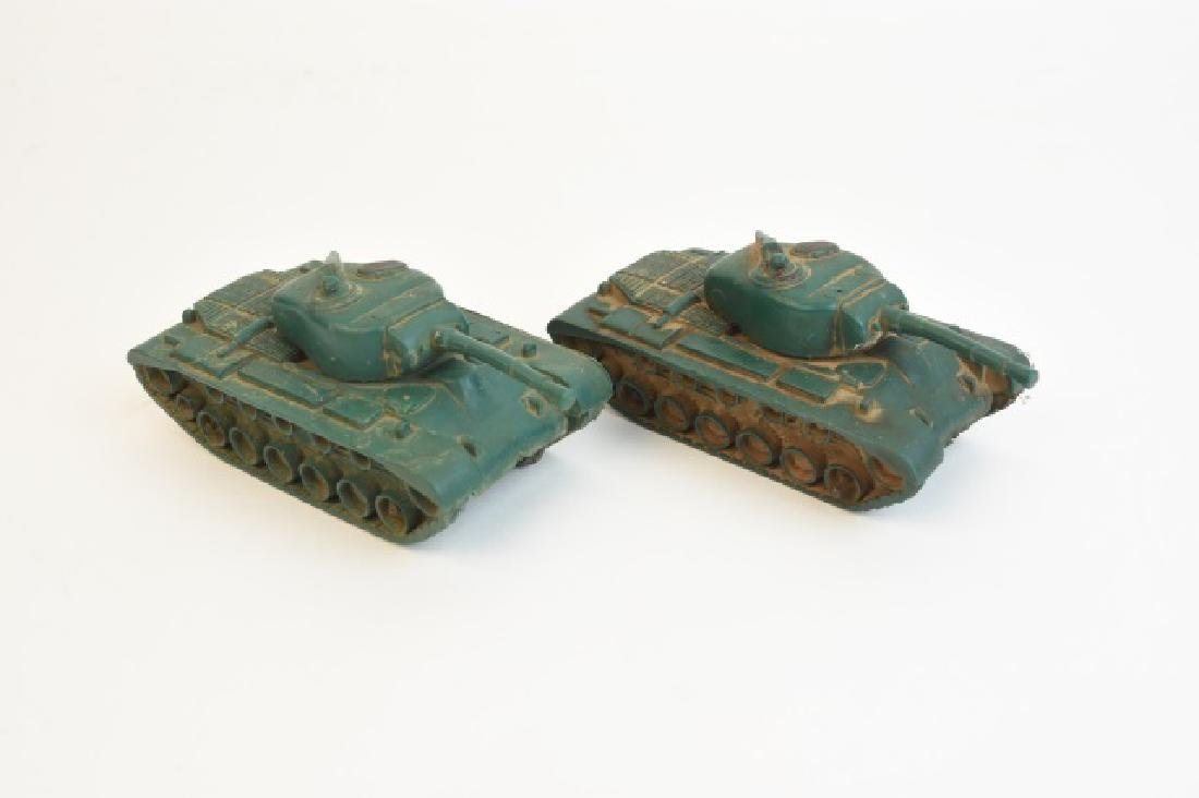Pair of Auburn Rubber Military Tank Toys