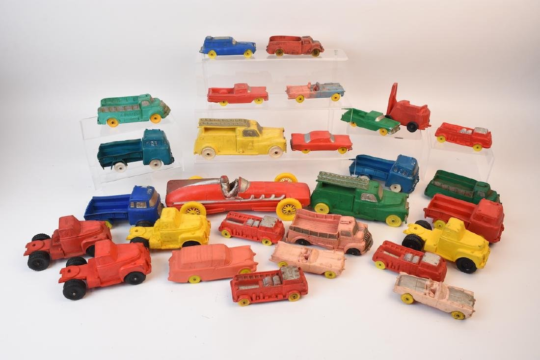 Large Assortment of Auburn Rubber Toy Vehicles