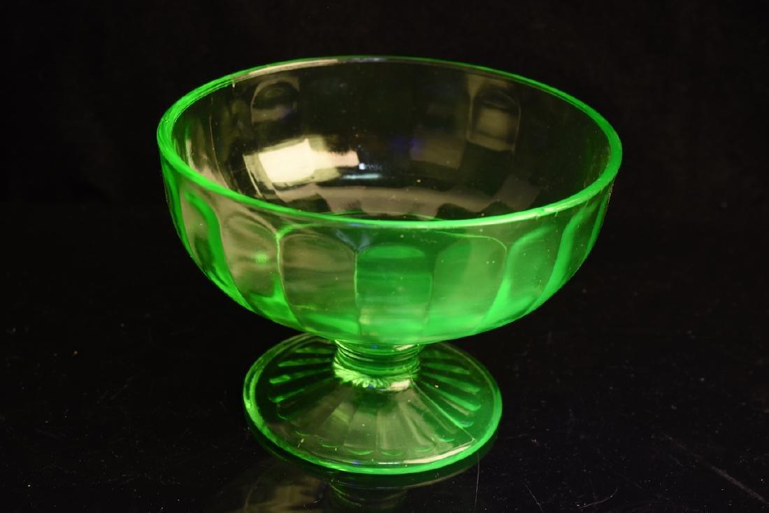Vaseline Glass Divided Tidbit Tray & Bowl