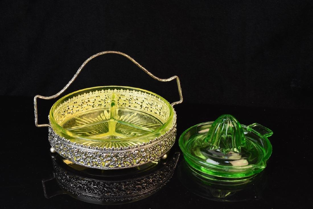 Vaseline Glass Divided Tidbit Tray & Juicer