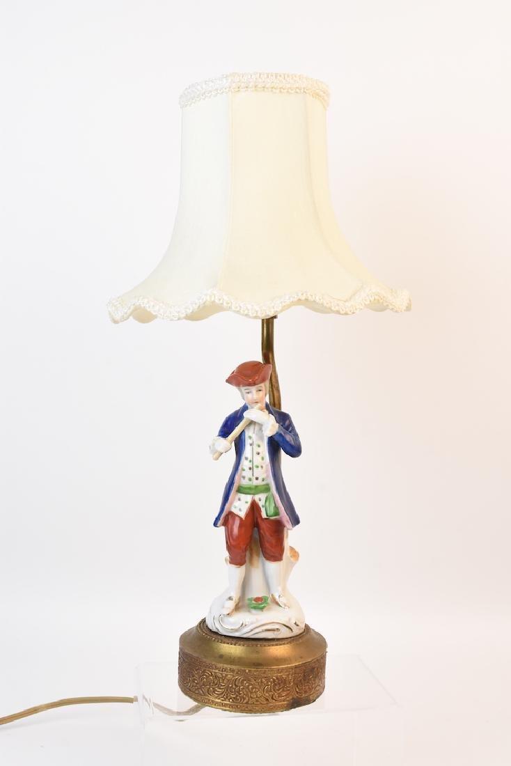 Antique Colonial Porcelain Figural Lamp