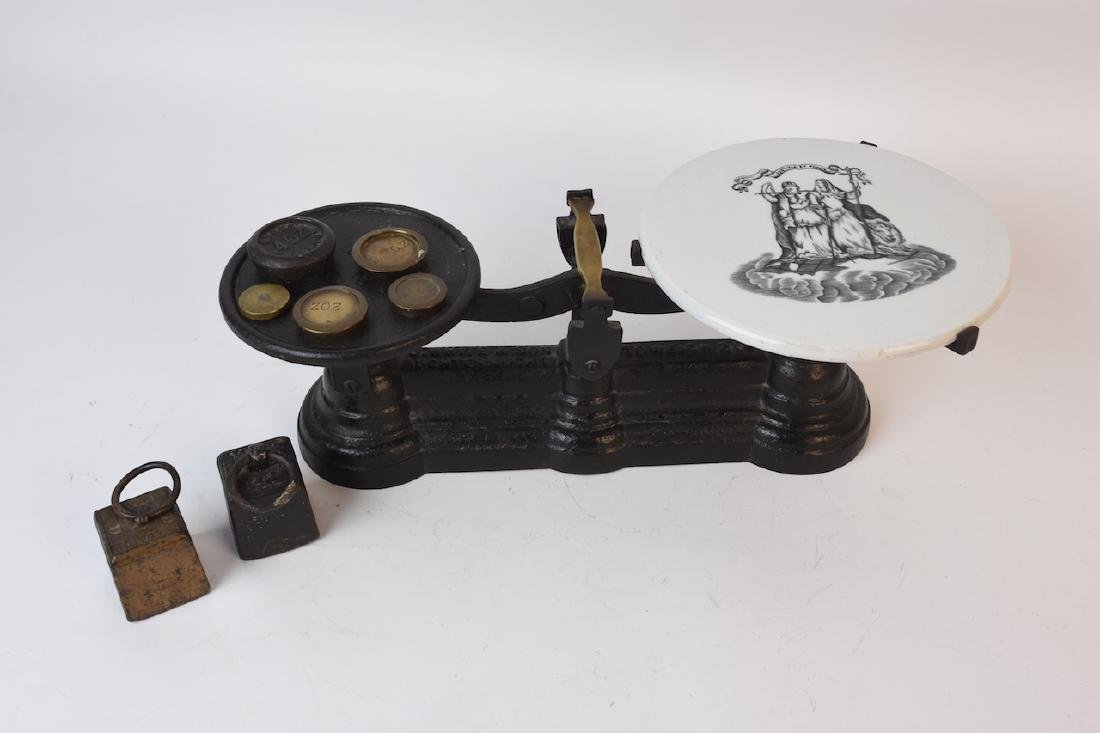 Antique Cast Iron Butchers Scale w/Weights